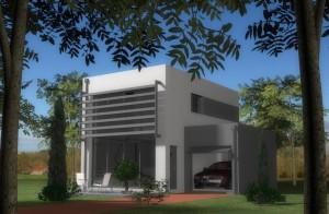 Maison contemporaine avec un mur rideau