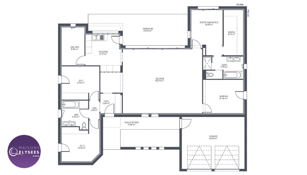 plan maison contemporaine en h