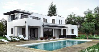 Maison d'architecte avec piscine vue jour
