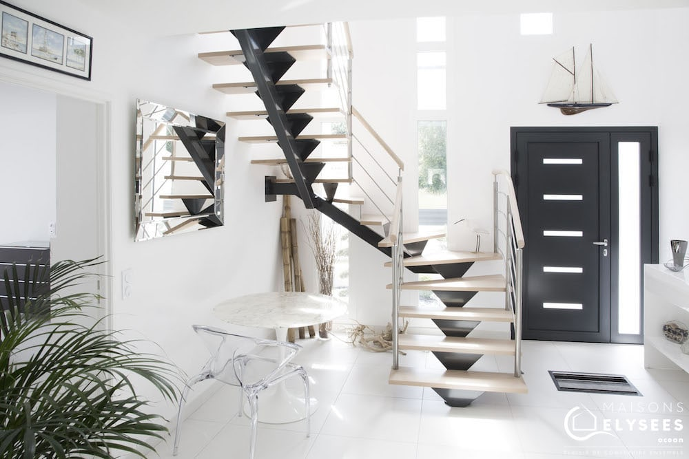 Mathes maison d 39 architecte avec murs rideaux et jardin japonais - Interieur maison cubique ...