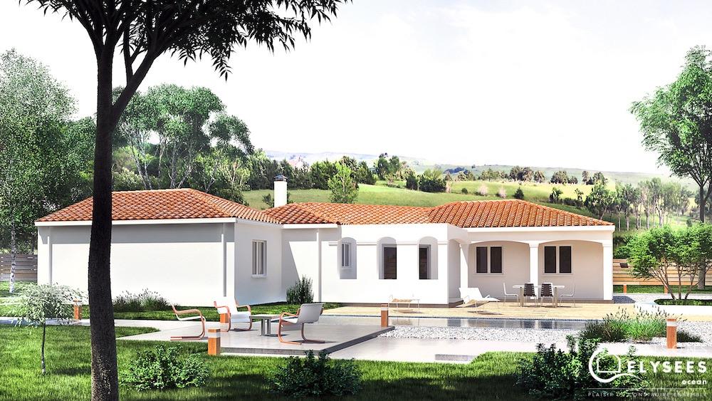 Pergola maison contemporaine toit plat avec pergola for Modele maison en v