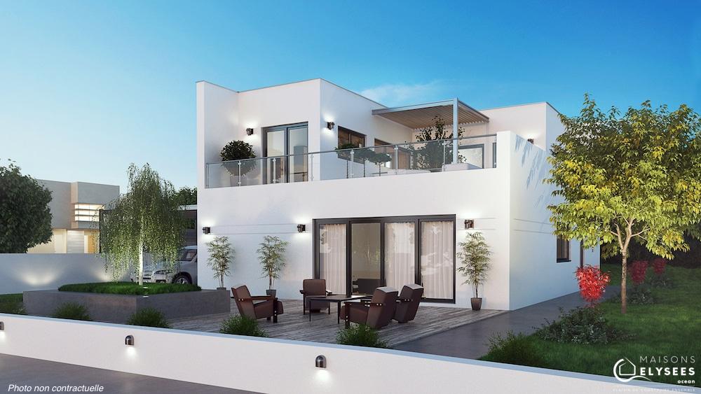 Vaux maison d 39 architecte tage avec patios et terrasse for Modele maison 2016