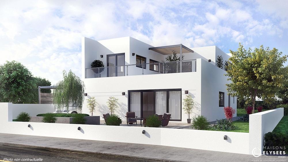 Vaux maison d 39 architecte tage avec patios et terrasse - Modele d architecture de maison ...