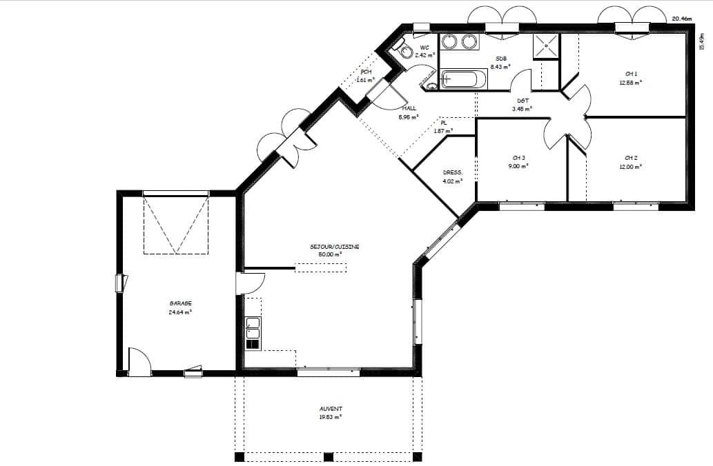 Plan Maison 100 M En V De Plain Pied Ooreka