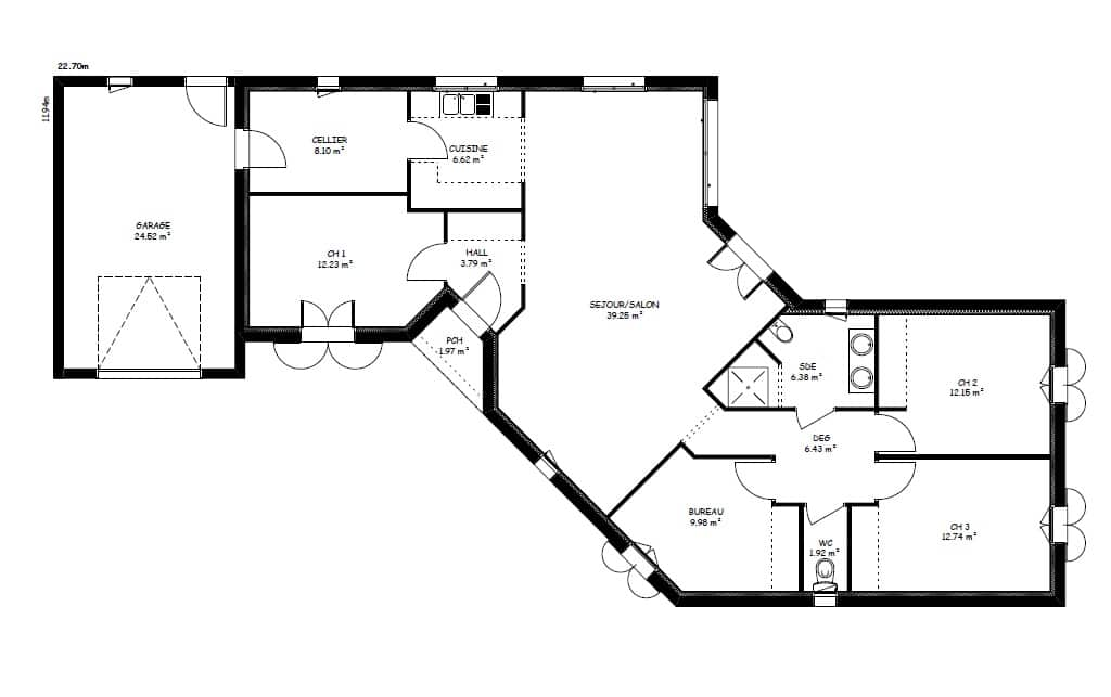 Plan De Maison 3 Chambres Modele Habitat Concept 48