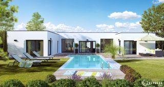 Visuel maison architecte marine arriere avec piscine et terrasse