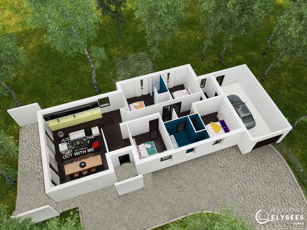 Linea maison contemporaine longiligne - Maison moderne plain pied 4 chambres ...