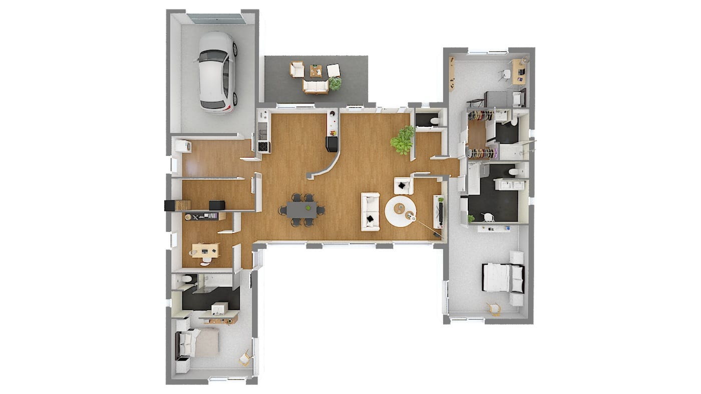 Maison De Bord De Mer En Forme De H Plain Pied 3 Chambres