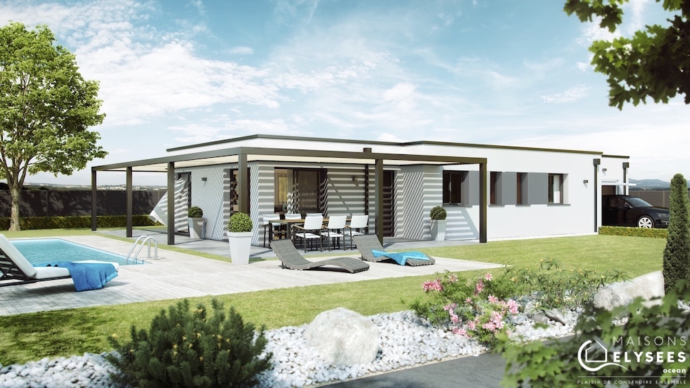 Pergola maison contemporaine toit plat avec pergola for Photo maison contemporaine toit plat
