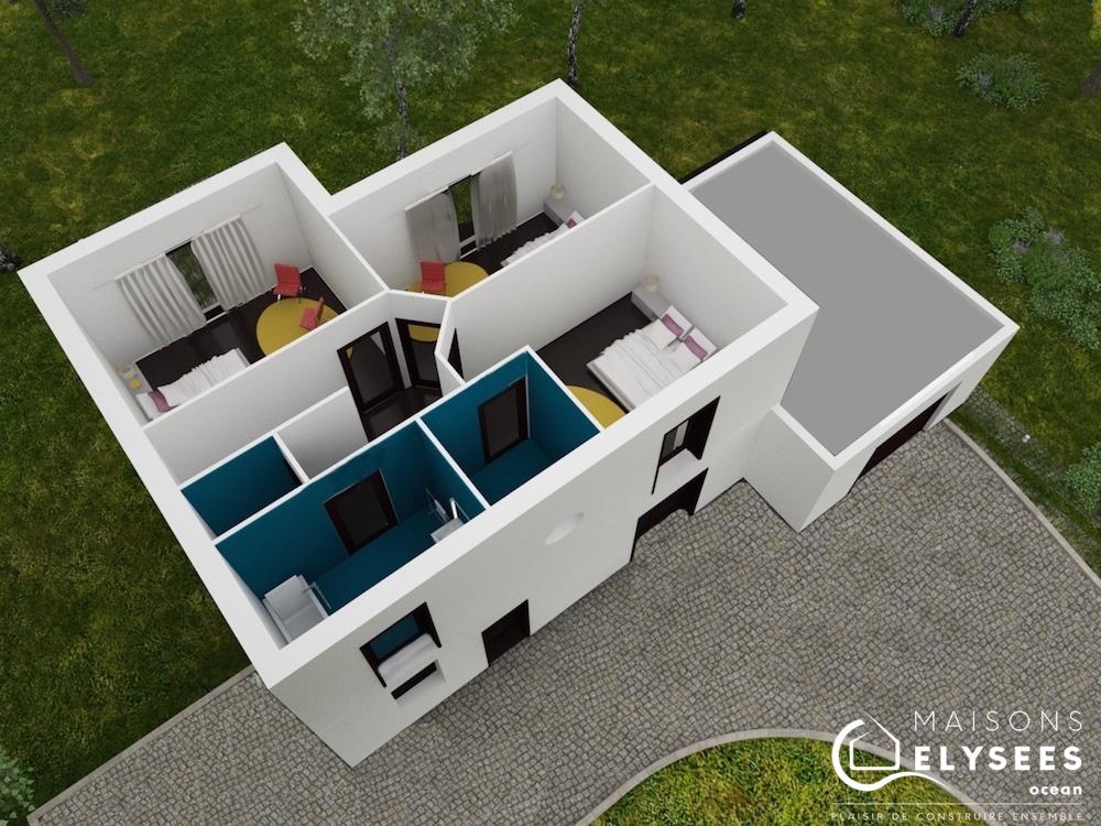 plan 3D maison Saturne RDC