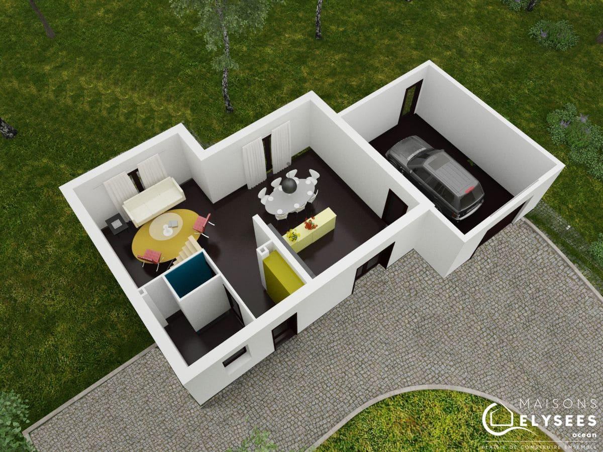plan 3D  maison moderne  haut Saturne