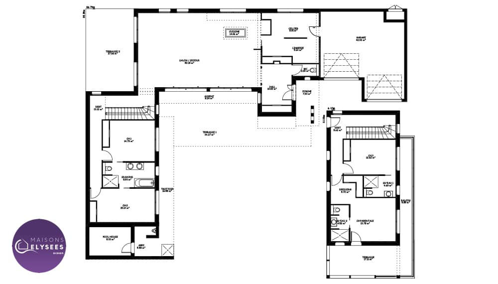 Plan maison californienne for Villa maison plans photos