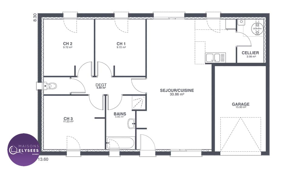 Plan maison 80m2 maison beauvoir sur mer vende depreux for Plan maison 80m2