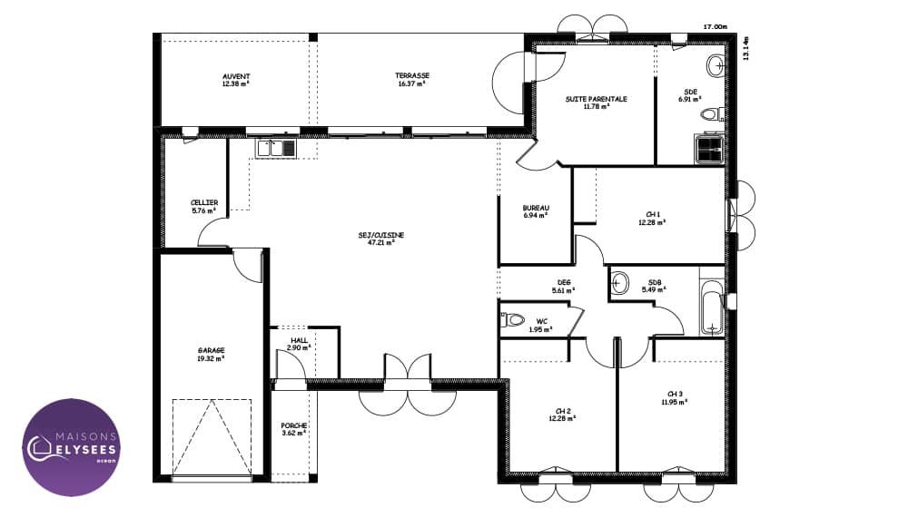 Plan De Maison En U Avec Patio Modele Nacre 13