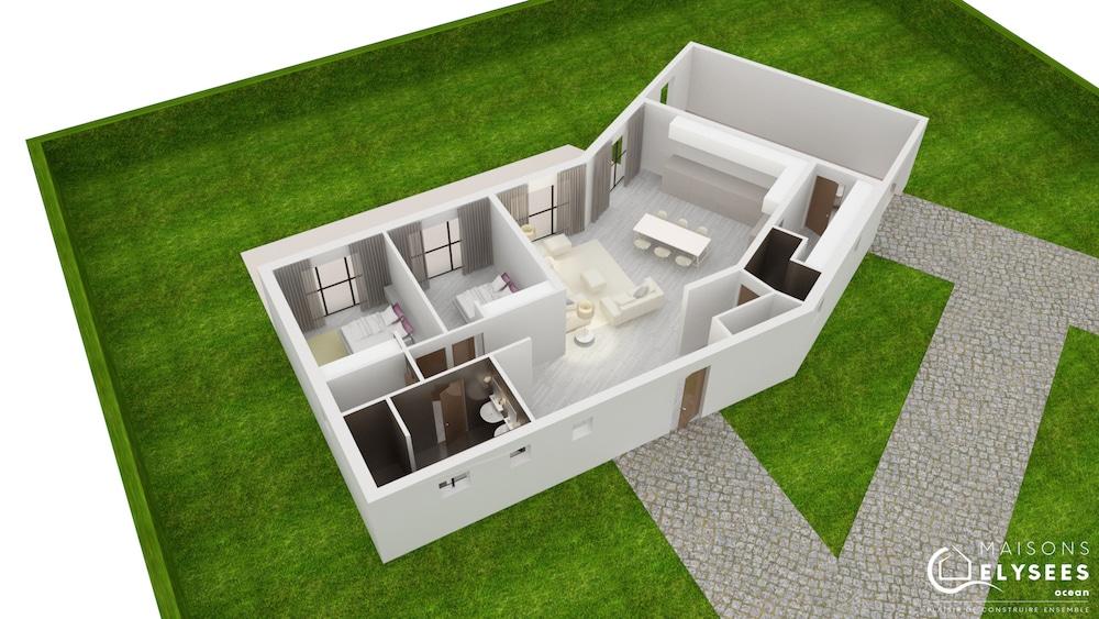 Plan 3D Maison carrelet1