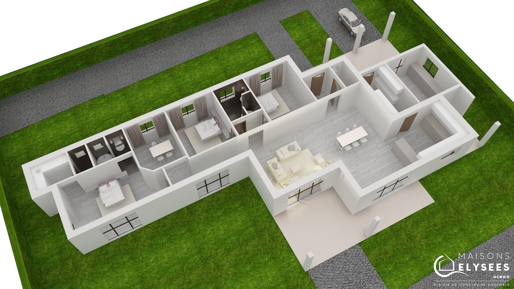 Golf maison contemporaine cubique et design for Site de construction de maison 3d