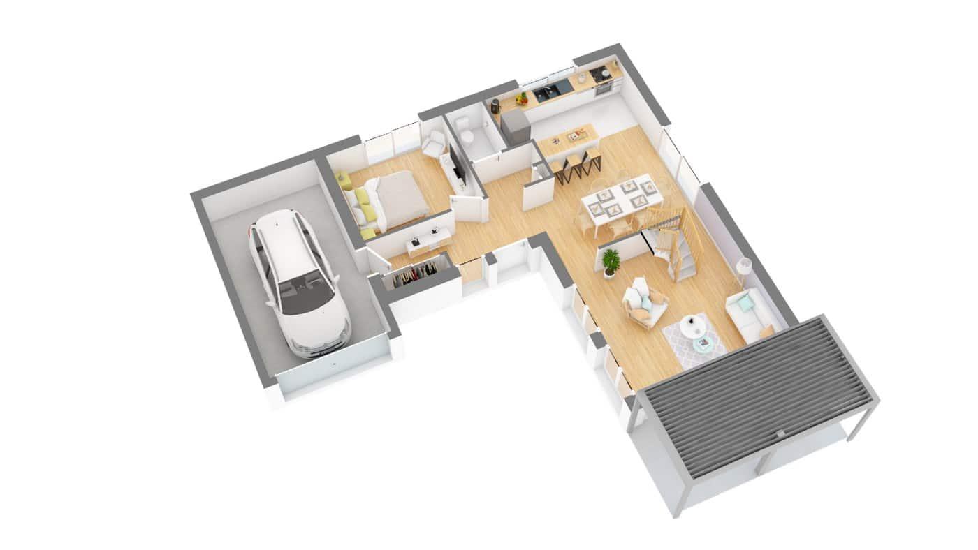Elysees Ocean plan Maison moderne contemporaine _Senza-g0-axo_rdc