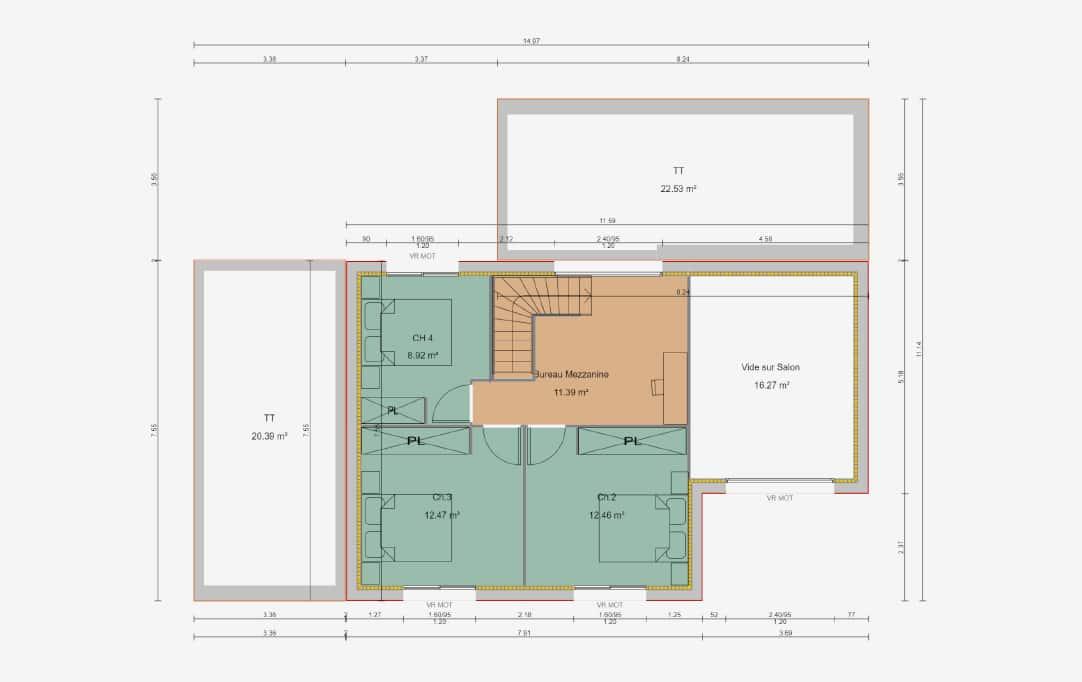 plan de maison d'architecte sur mesure avec un étage