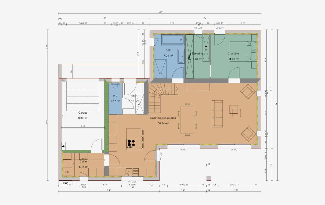plan de maison d'architecte sur mesure